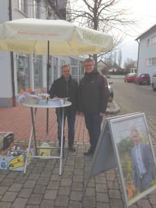 Buergermeisterkandidat Wolfgang Reiland mit Reiner Schneider